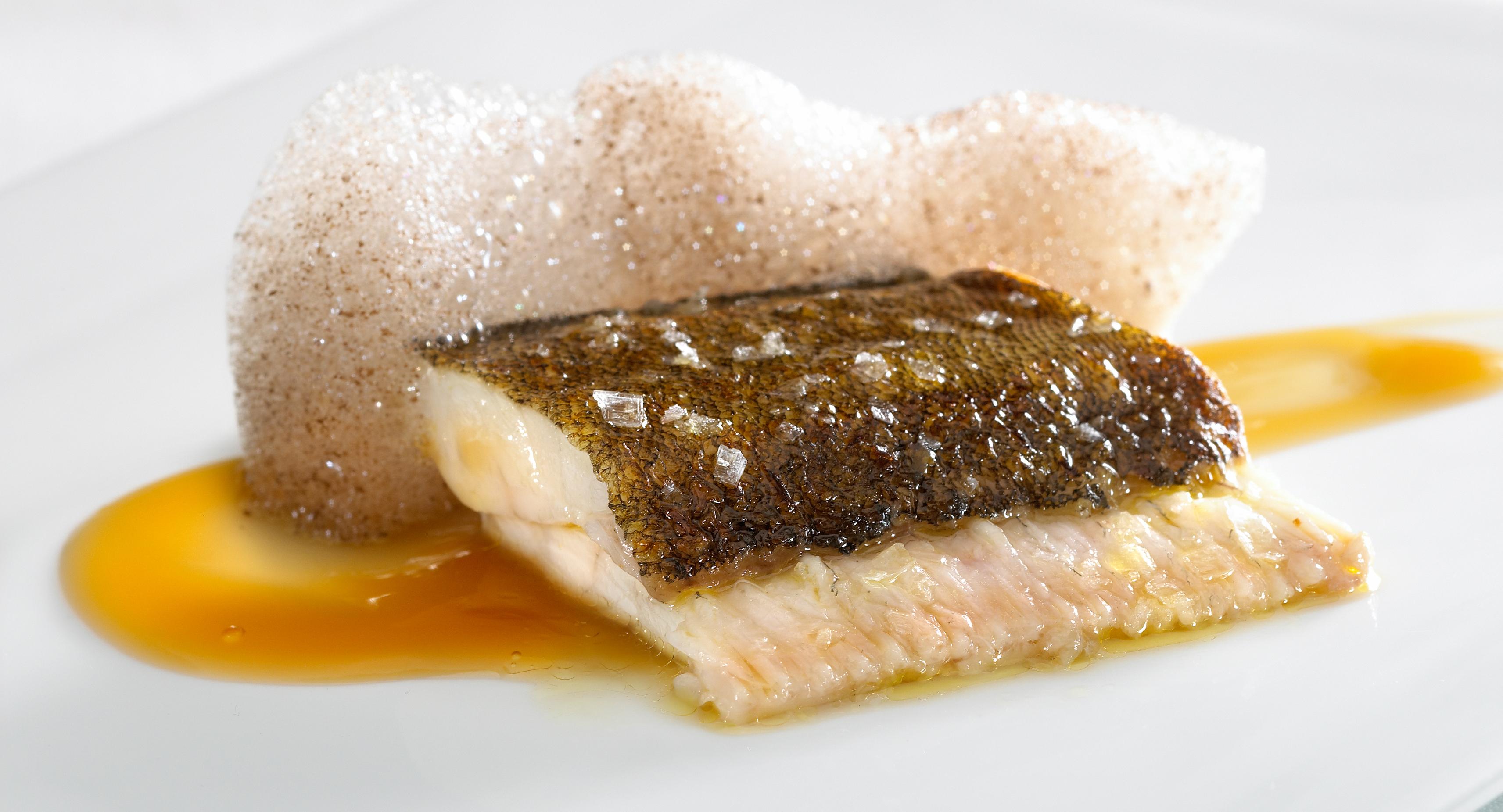 Lenguado asado cubierto de un gel de cebollas asadas y trufas, borbolleo de vinagre viejo de jerez y oloroso. Mugaritz / J. L. LÓPEZ DE ZUBIRIA