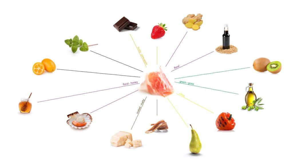Ingredientes que armonizan con el jamón ibérico. /FOODPAIIRING -A. SÁNCHEZ
